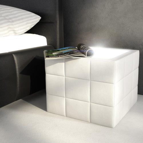DELIFE Nachttisch Nuncia 41x41 Weiss LED Beleuchtung Steppnaht, Nachttische