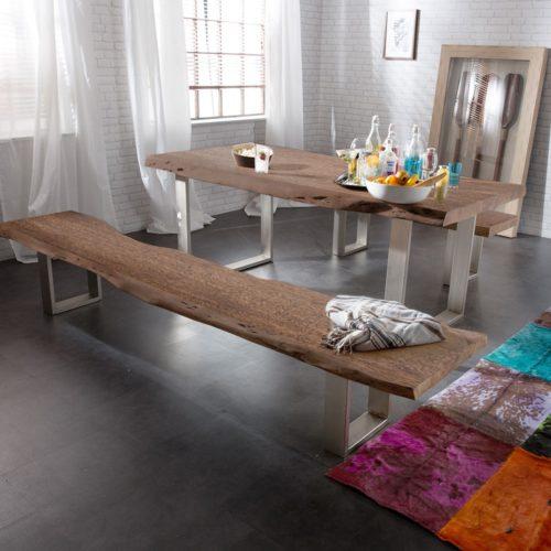 DELIFE Sitzbank Live-Edge 195x40 Akazie Braun Gestell schmal, Bänke, Baumkantenmöbel, Massivholzmöbel, Massivholz, Baumkante, Wolf Live Edge