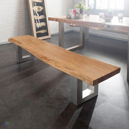 DELIFE Sitzbank Live-Edge 195x40 Akazie Natur Gestell breit, Bänke, Baumkantenmöbel, Massivholzmöbel, Massivholz, Baumkante, Wolf Live Edge