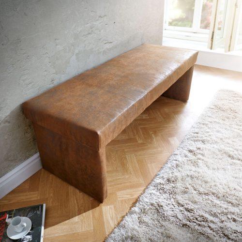 DELIFE Sitzbank Olav 140x53 cm Braun Antik Optik gepolstert, Bänke
