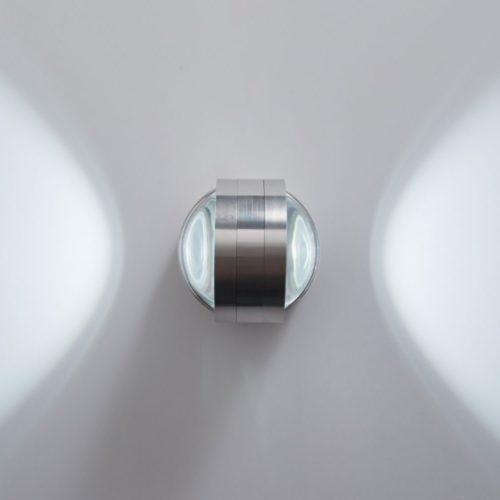 DELIFE LED Wandleuchte Zid Silber 2 Watt Aluminium gebürstet, Wandleuchten