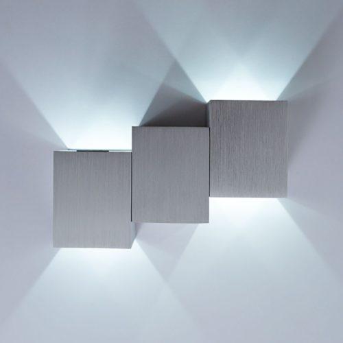 DELIFE LED Wandleuchte Miray Silber 2 Watt Aluminium Gebürstet, Wandleuchten