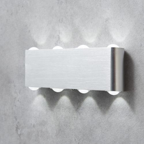 DELIFE LED Wandleuchte Garu Silber 8 Watt Aluminium Gebürstet, Wandleuchten