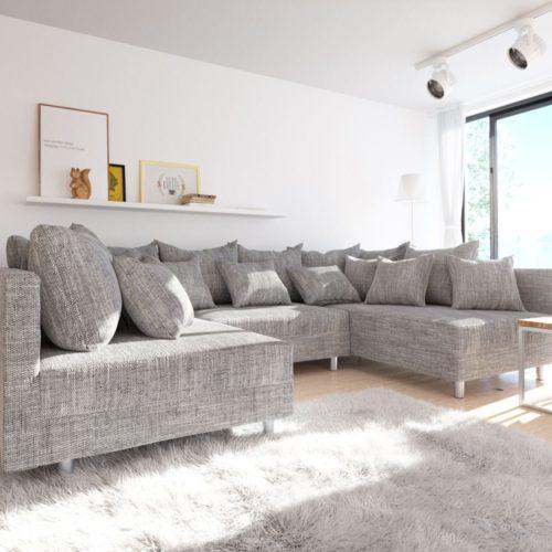 DELIFE Wohnlandschaft Clovis Hellgrau Strukturstoff Modulsofa, Design Wohnlandschaften, Couch Loft, Modulsofa, modular