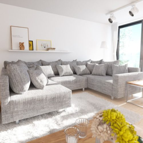 DELIFE Wohnlandschaft Clovis Hellgrau Strukturstoff mit Armlehne Modulsofa, Design Wohnlandschaften, Couch Loft, Modulsofa, modular