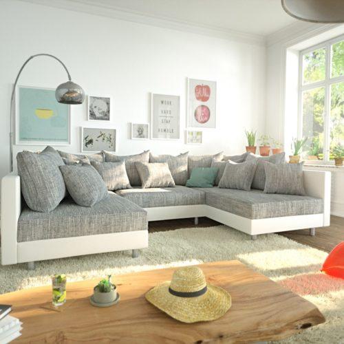 DELIFE Wohnlandschaft Clovis Weiss Hellgrau Modulares Sofa, Design Wohnlandschaften, Couch Loft, Modulsofa, modular