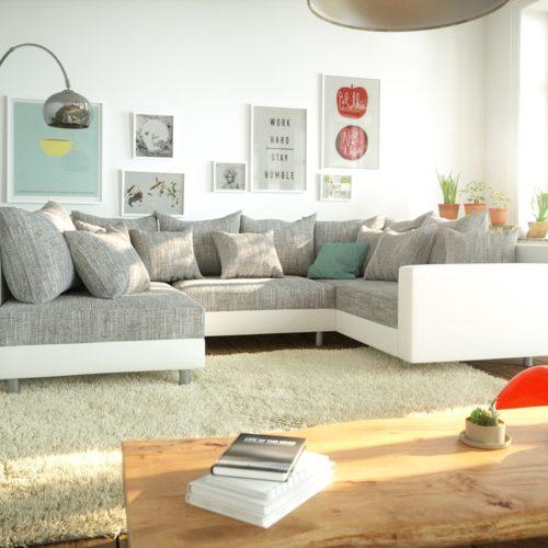 DELIFE Wohnlandschaft Clovis Weiss Hellgrau Modulsofa Armlehne, Design Wohnlandschaften, Couch Loft, Modulsofa, modular