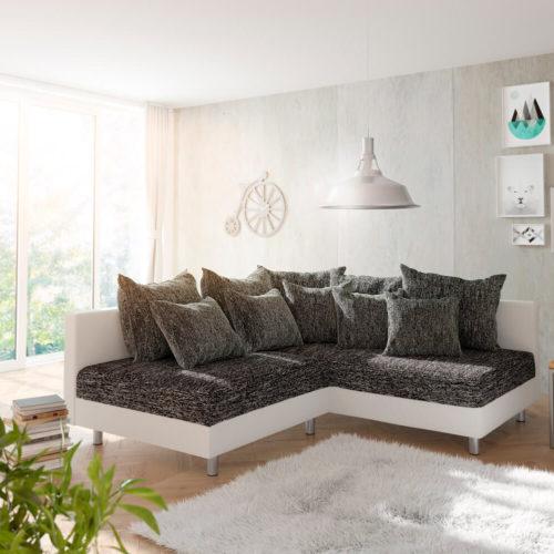 DELIFE Ecksofa Clovis Weiss Schwarz Ottomane Rechts modular, Design Ecksofas, Couch Loft, Modulsofa, modular