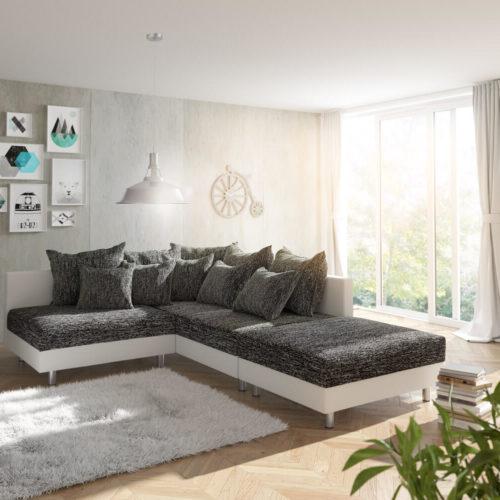 DELIFE Ecksofa Clovis Weiss Schwarz mit Hocker Ottomane Rechts modular, Design Ecksofas, Couch Loft, Modulsofa, modular