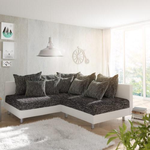 DELIFE Ecksofa Clovis Weiss Schwarz Ottomane Links Modulsofa, Design Ecksofas, Couch Loft, Modulsofa, modular