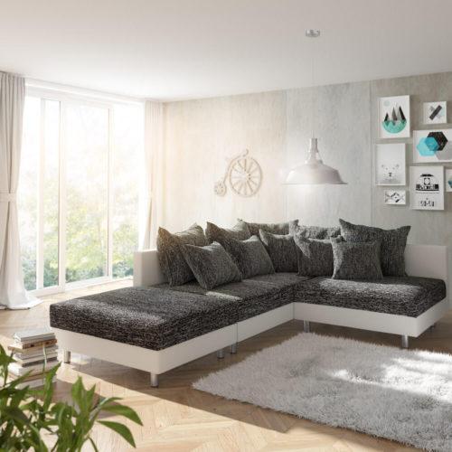 DELIFE Ecksofa Clovis Weiss Schwarz mit Hocker Ottomane Links, Design Ecksofas, Couch Loft, Modulsofa, modular