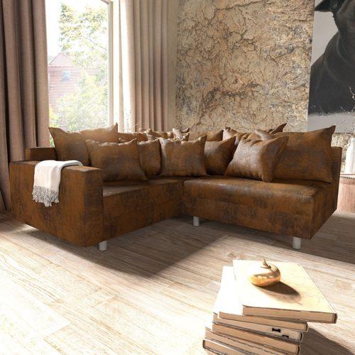 DELIFE Ecksofa Clovis Braun Antik Optik modular Armlehne Ottomane Links, Design Ecksofas, Couch Loft, Modulsofa, modular