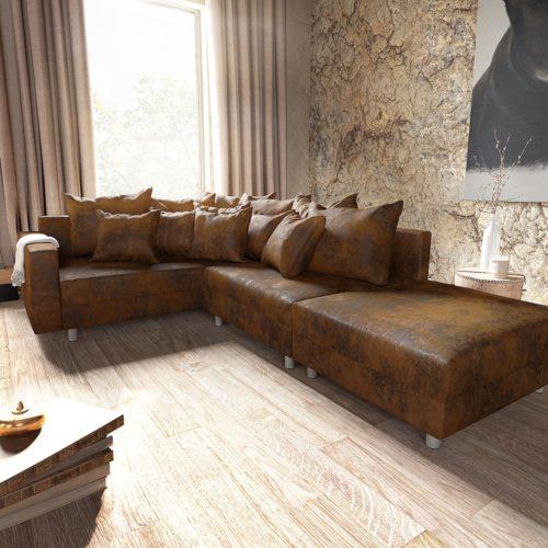 DELIFE Ecksofa Clovis Braun Antik Optik modul Hocker Armlehne Ottomane Links, Design Ecksofas, Couch Loft, Modulsofa, modular