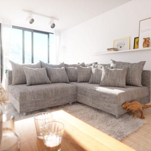 DELIFE Ecksofa Clovis Hellgrau Strukturstoff Ottomane Rechts Modulsofa, Design Ecksofas, Couch Loft, Modulsofa, modular