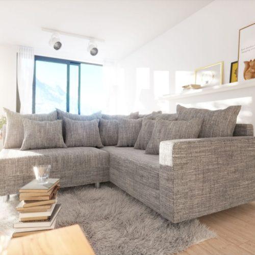 DELIFE Ecksofa Clovis Hellgrau Strukturstoff Armlehne Ottomane Rechts, Design Ecksofas, Couch Loft, Modulsofa, modular