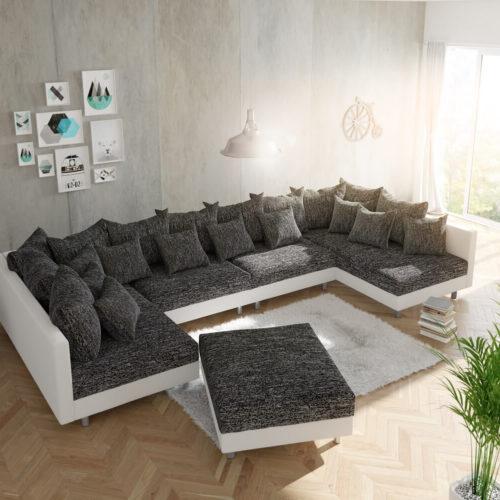 DELIFE Wohnlandschaft Clovis XL Weiss Schwarz mit Hocker modular, Design Wohnlandschaften, Couch Loft, Modulsofa, modular