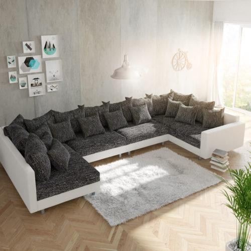 DELIFE Wohnlandschaft Clovis XL Weiss Schwarz mit Armlehne modular, Design Wohnlandschaften, Couch Loft, Modulsofa, modular