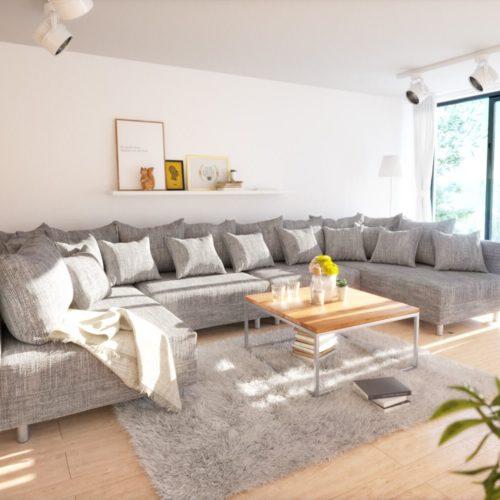 DELIFE Wohnlandschaft Clovis XL Hellgrau Strukturstoff Modulsofa, Design Wohnlandschaften, Couch Loft, Modulsofa, modular