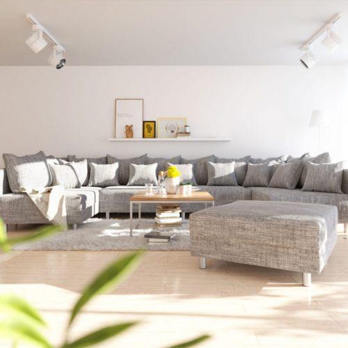 DELIFE Wohnlandschaft Clovis XL Hellgrau Strukturstoff Modulsofa Hocker, Design Wohnlandschaften, Couch Loft, Modulsofa, modular