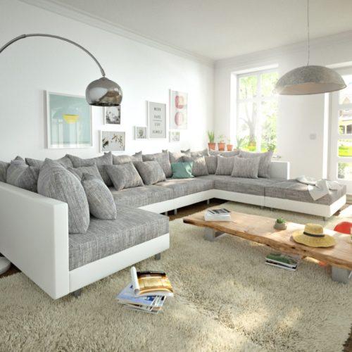 DELIFE Wohnlandschaft Clovis XL Weiss Hellgrau Modulsofa Hocker, Design Wohnlandschaften, Couch Loft, Modulsofa, modular