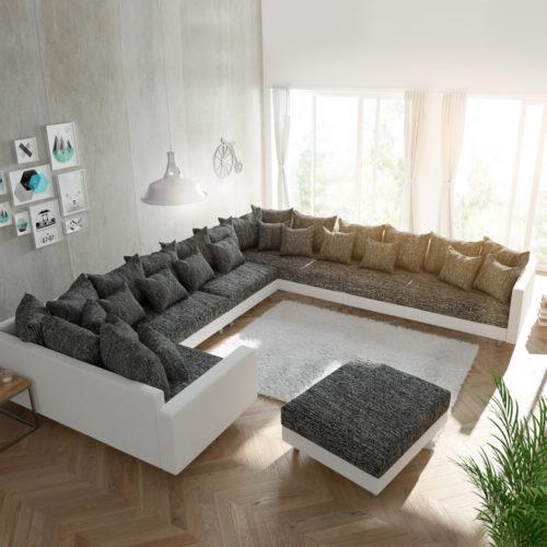 DELIFE Wohnlandschaft Clovis XXL Weiss Schwarz mit Hocker und Armlehne Ottomane Rechts, Design Wohnlandschaften, Couch Loft, Modulsofa, modular