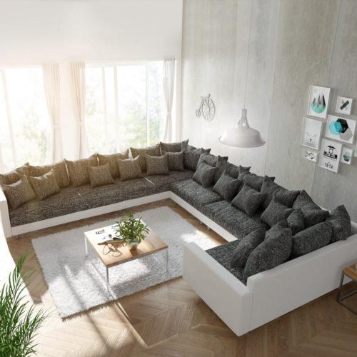 DELIFE Wohnlandschaft Clovis XXL Weiss Schwarz mit Armlehne Ottomane Links, Design Wohnlandschaften, Couch Loft, Modulsofa, modular