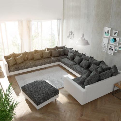 DELIFE Wohnlandschaft Clovis XXL Weiss Schwarz mit Hocker und Armlehne Ottomane Links, Design Wohnlandschaften, Couch Loft, Modulsofa, modular