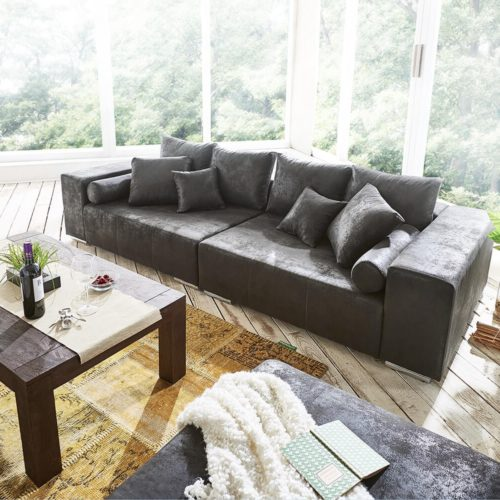 DELIFE Big-Sofa Marbeya 285x115 cm Anthrazit Antik Optik Hocker, Big Sofas