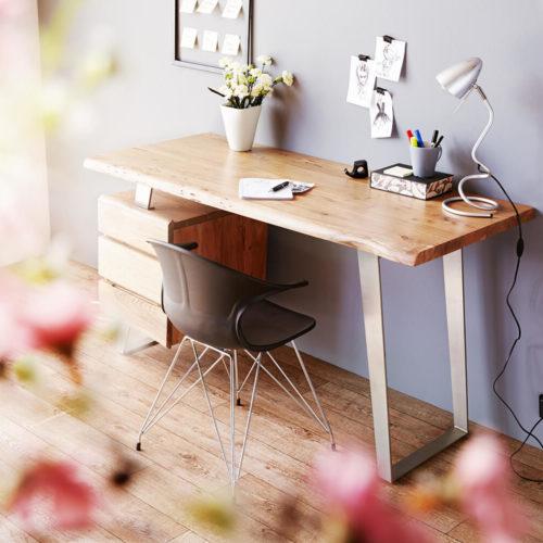 DELIFE Schreibtisch Live-Edge 147x62 cm Akazie Natur 3 Schübe, Schreibtische, Baumkantenmöbel, Massivholzmöbel, Massivholz, Baumkante, Wolf Live Edge