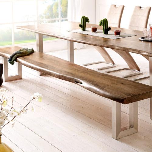 DELIFE Sitzbank Live-Edge 255x40 Akazie Braun Gestell breit Baumkante, Bänke, Baumkantenmöbel, Massivholzmöbel, Massivholz, Baumkante, Wolf Live Edge