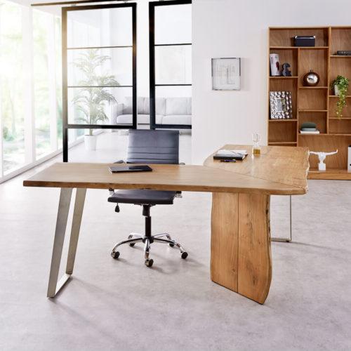 DELIFE Schreibtisch Live-Edge 170x170 Akazie Natur Gestell Silber Baumkante, Schreibtische, Baumkantenmöbel, Massivholzmöbel, Massivholz, Baumkante, Wolf Live Edge