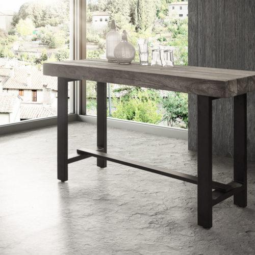 DELIFE Bartisch Blokk 165x60 cm Akazie Platin Massivholz Metall, Bartische