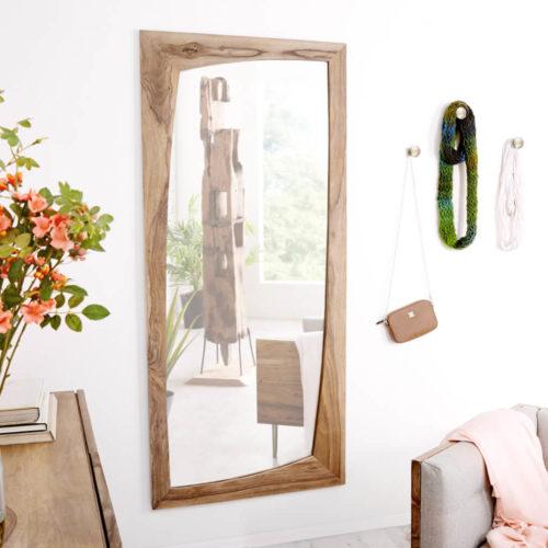 DELIFE Designer-Wandspiegel Wyatt 160x70 cm Sheesham Natur, Spiegel