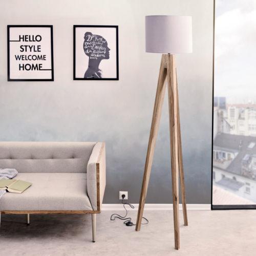 DELIFE Designer-Stehlampe Wyatt Sheesham Natur drei Beine Stoff Grau, Stehleuchten