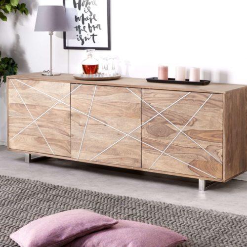 DELIFE Designer-Sideboard Wyatt 175 cm Sheesham Natur 3 Türen, Sideboards