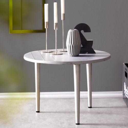DELIFE Beistelltisch Metropolitan 50 cm Grau Beton Edelstahl rund, Beistelltische