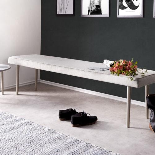 DELIFE Sitzbank Metropolitan 180x40 cm Grau gepolstert Füße silberfarben, Bänke