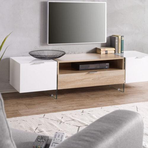 DELIFE Lowboard Henora 160 cm Weiss Hochglanz Eiche Sonoma Dekor, Fernsehtische