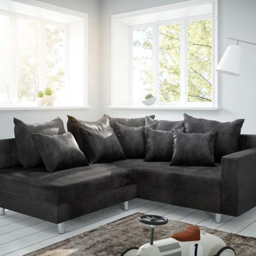 DELIFE Ecksofa Clovis Anthrazit Antik Optik modular Armlehne Ottomane Rechts, Design Ecksofas, Couch Loft, Modulsofa, modular