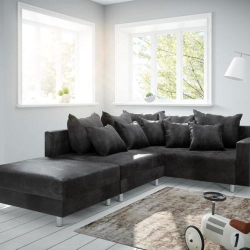DELIFE Ecksofa Clovis Anthrazit Antik Optik modular Hocker Armlehne Ottomane Rechts, Design Ecksofas, Couch Loft, Modulsofa, modular