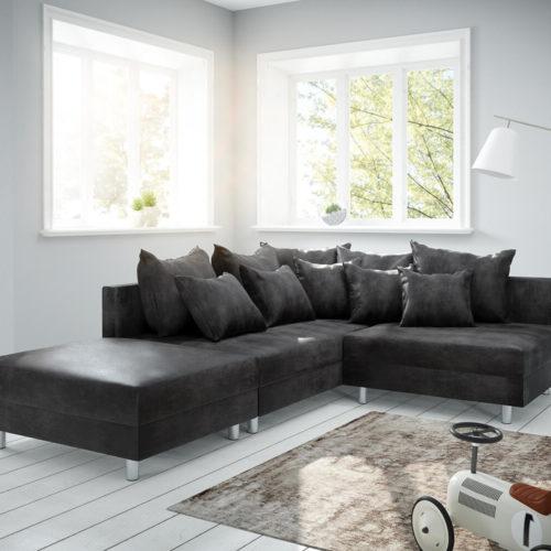 DELIFE Ecksofa Clovis Anthrazit Antik Optik Hocker Ottomane Links Modulsofa, Design Ecksofas, Couch Loft, Modulsofa, modular