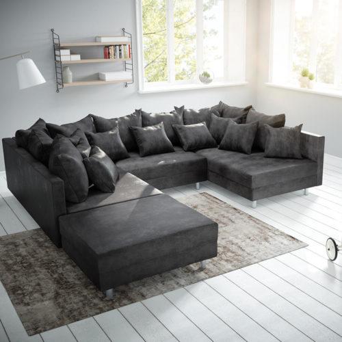 DELIFE Wohnlandschaft Clovis Anthrazit Antik Optik modular Hocker, Design Wohnlandschaften, Couch Loft, Modulsofa, modular