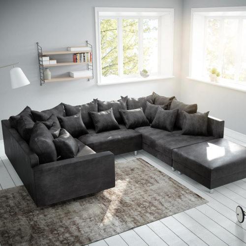 DELIFE Wohnlandschaft Clovis Anthrazit Antik Optik modular Hocker Armlehne, Design Wohnlandschaften, Couch Loft, Modulsofa, modular