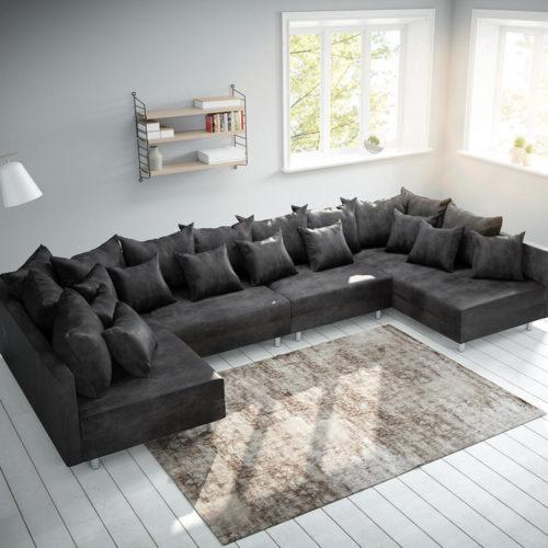 DELIFE Wohnlandschaft Clovis XL Anthrazit Antik Optik Modulsofa, Design Wohnlandschaften, Couch Loft, Modulsofa, modular