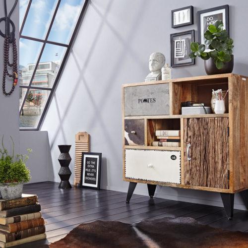 WOLF MÖBEL Sideboard Himalaya 100 cm Mango Natur 3 Schübe 1 Tür, Sideboards