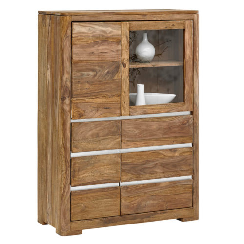 WOLF MÖBEL Highboard Boston 100 cm Sheesham Natur mit 4 Türen, Vitrinen