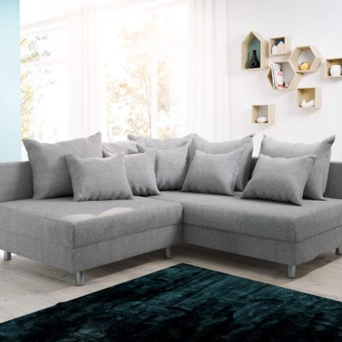 DELIFE Ecksofa Clovis Grau Flachgewebe Ottomane Rechts Modulsofa, Design Ecksofas, Couch Loft, Modulsofa, modular