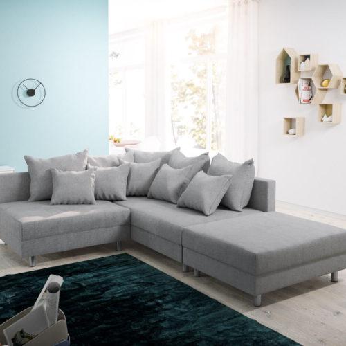 DELIFE Ecksofa Clovis Grau Flachgewebe Hocker Ottomane Rechts Modulsofa, Design Ecksofas, Couch Loft, Modulsofa, modular