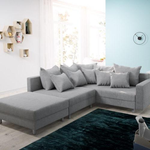 DELIFE Ecksofa Clovis Grau Flachgewebe Hocker Armlehne Ottomane Rechts Modulsofa, Design Ecksofas, Couch Loft, Modulsofa, modular