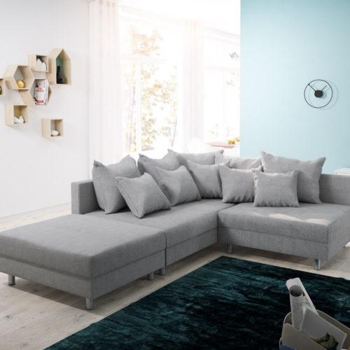 DELIFE Ecksofa Clovis Grau Flachgewebe Hocker Ottomane Links Modulsofa, Design Ecksofas, Couch Loft, Modulsofa, modular